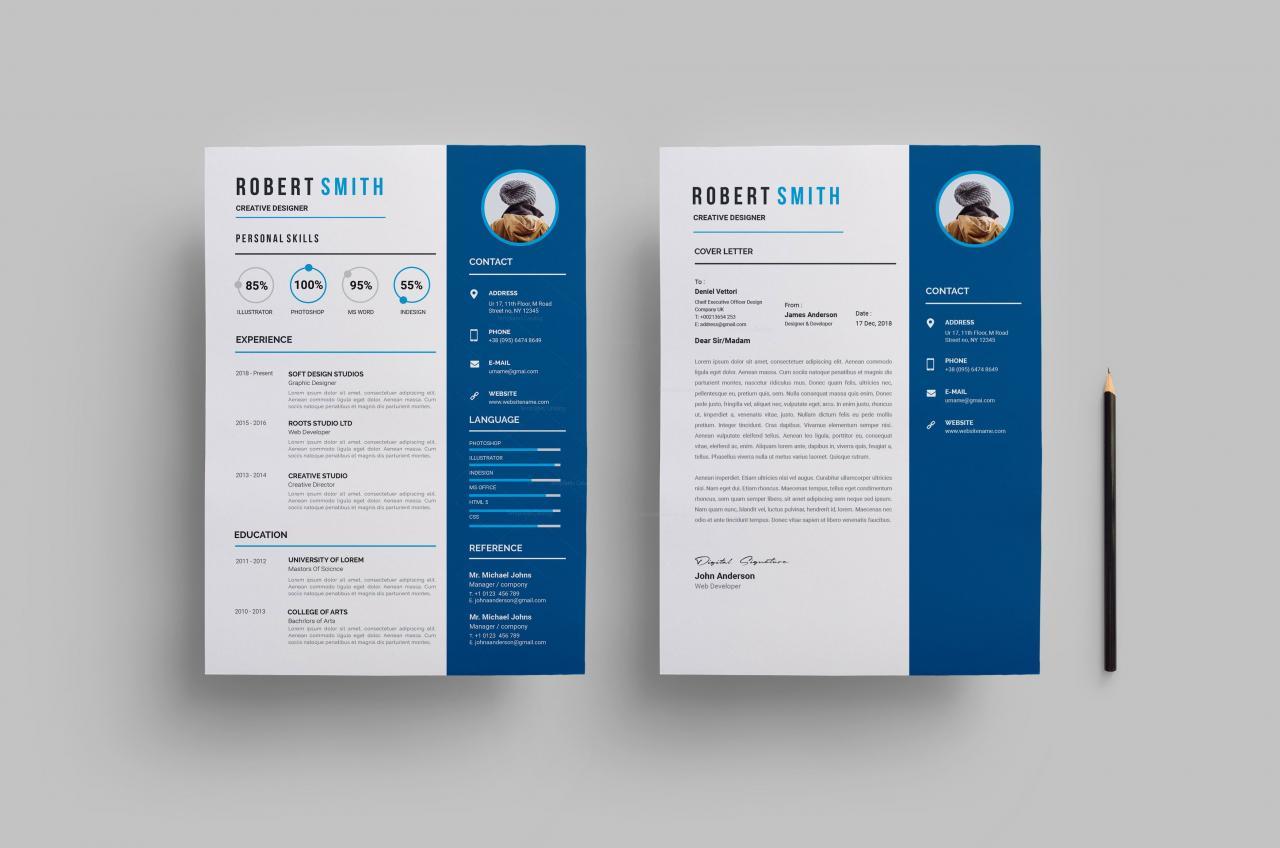 Printable Creative Resume Design 002807 - Template Catalog